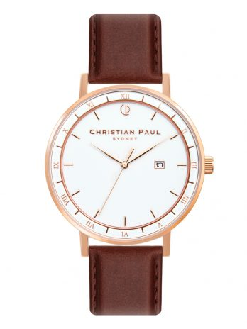 216 Alpha V – Rose Gold / Stitched Brown Leather / White Face