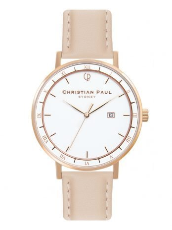 129 Alpha V – Rose Gold / Stitched Peach Leather / White Face