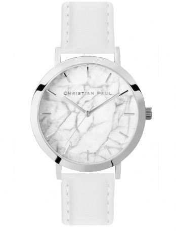 199 Marble – Silver / Stitched White Leather / White Face