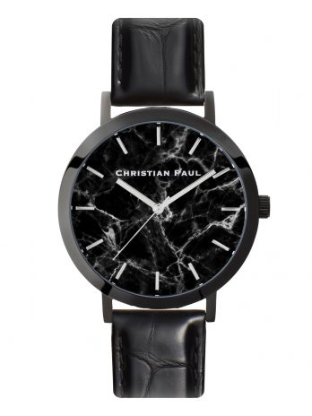 215 Marble – Black / Stitched Black Leather / Black Face