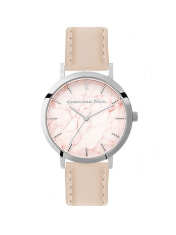 193 Marble – Silver / Stitched Peach Leather / Pink Face