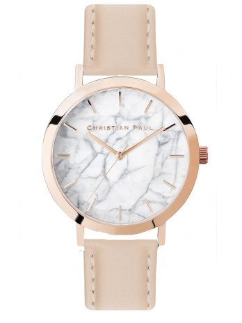 113 Marble – Rose Gold / Stitched Peach Leather / White Face